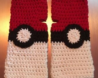 Pokeball-themed fingerless gloves (size small/medium)