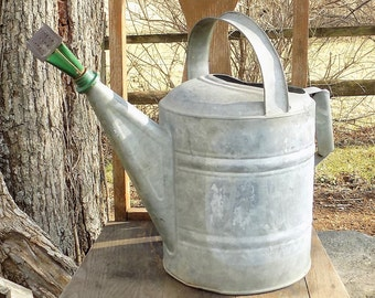 Galvanized Watering Can, With Green Oblong Head, Sprinkling Can with Handle