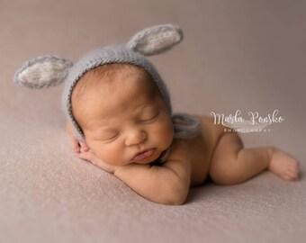 Newborn Baby Bunny Hat, Bunny Bonnet, Baby Easter Hat, Baby Bunny Hat, Newborn Knitted PHOTO PROP, Funny Hat for Newborn, Newborn Photo Prop