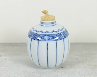 Japanese Furidashi Sweet Conatainer of Kyo ware, Blue and White Hand Painted, Tea Ceremony