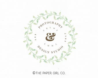 photography logo leaf wreath logo premade logo event planner logo nature logo jewelry design logo etsy shop logo wedding monogram watermark