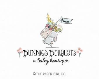 bunny logo design rabbit logo design baby boutique logo children's boutique logo photography logo party logo design premade logo design