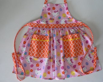 Girls Hello Kitty Easter Apron Easter Apron With Pockets Girls Easter Gift
