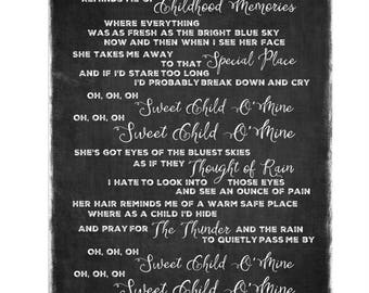 Sweet Child O'Mine (Guns & Roses) Lyrics Word Art
