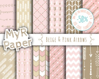 """Arrow digital paper: """"BEIGE & PINK ARROWS"""" digital paper pack of backgrounds in pink, beige and brown with arrow and chevron"""