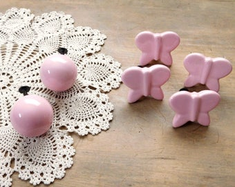Pink Ceramic Drawer Pulls Set of 6