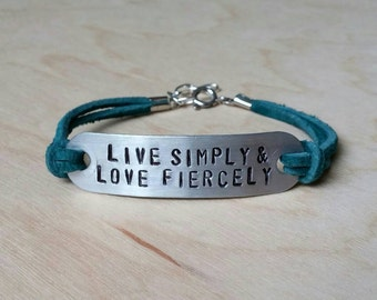 Made To Order Customize Metal and Suede Bracelet -Quote, Date, Coordinate, Etc. with your choice of Font, Color, and Symbols