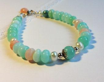 Natural Peru Pink , Blue Opal ~ Larimar ~ Pearl Bracelet . Sterling Silver .  Peruvian Opal