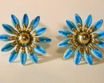 Sarah Coventry Large Blue Enamel Floral Clip Earrings