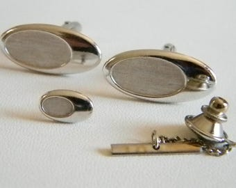SWANK Silver Tone Oval Cuff Links & Tie Tack Accessories