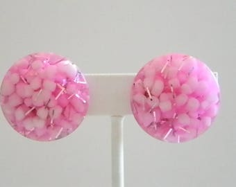 Vintage Pink Silver White Confetti Clip Earrings