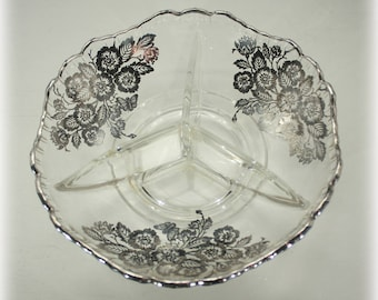 3 Part Cambridge Glass Gadroon Relish Dish with Sterling Overlay, Queen Rose by Silver City