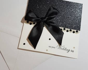 Elegant Black Glitter Wedding Card