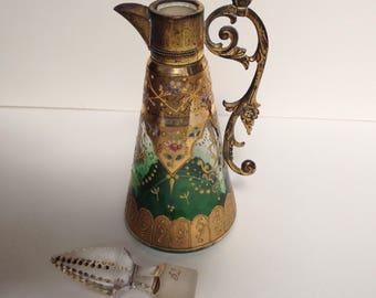 Exquisite Antique Enamelled Glass Decanter
