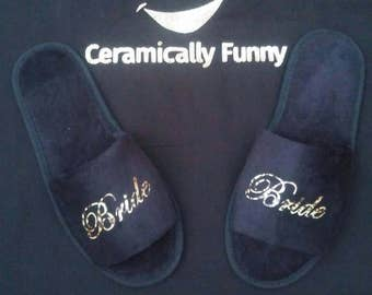 Bridesmaid  Gifts - Bridesmaid Slippers - Slippers  - Personalized Slippers - Bridal Slippers - Leopard Print Vinyl