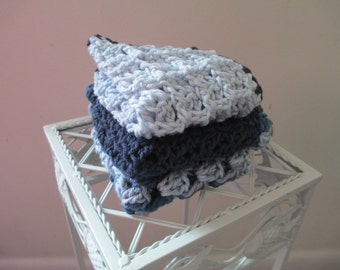 Crocheted Washcloth--Dishcloth--Cotton--Spa--- Set of three cloths