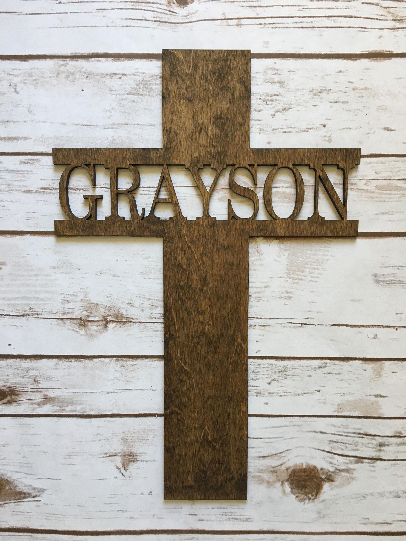 Personalized Cross Wooden Cross Baptisim Cross Wooden