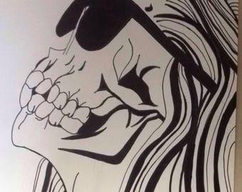 Skull girl sharpie drawing