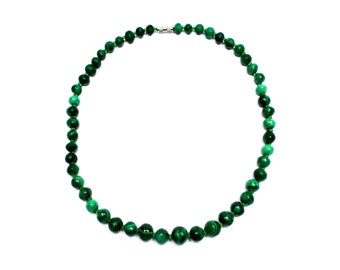Vintage malachite necklace, Green round semi-precious natural stone pearls, Small beads, Women jewel