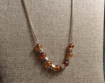 Sarah Coventry Amber Lucite Bead necklace.