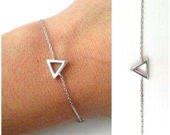 Bracelet silver triangle 925 - geometric jewelry, 925/000 - Geometric Triangle Bracelet bangle 925 silver sterling silver triangle