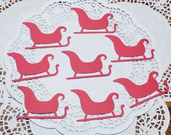 """Sleigh Die Cuts - Santa's Sleigh Die Cuts - Christmas Sleigh Die Cuts: Red (Recollections Primary Cardstock) (2.99"""" x 1.97"""")"""