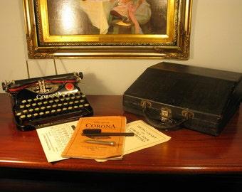 Antique Art Deco Vintage Smith Corona Cased Portable Typewriter + Accessories C1920s