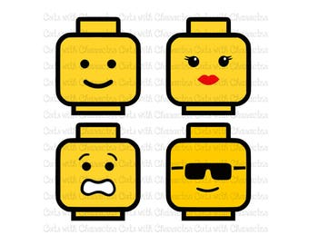 Lego Heads layered svg pack SVG DXF and Png Files for Cutting Machines Silhouette, Cricut or Scan 'N' Cut