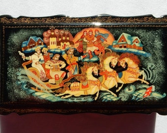SALE Russian Lacquer Box - Russian Fairy Tale or Mstryora Box - Signed Russian Miniature Box - Hand Painted Papier Mache Box Russia