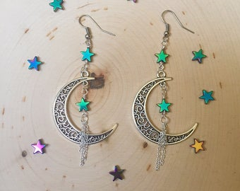 Moon and Star Earrings // Hematite Star and Moon Earrings