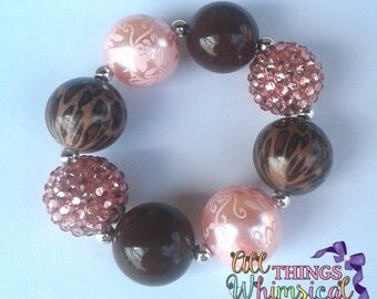 Pink and Brown Cheetah Chunky Bubblegum Bracelet