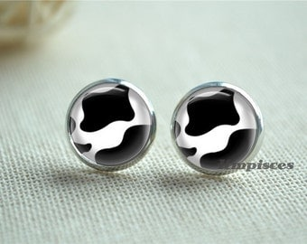 Cow Earrings, Dots Stud Earrings, Black and White Picture  Studs, Children Earrings, 12mm Glass Dome Ear Jewelry(EH306)