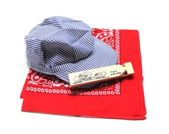 Train party favor includes conductor hat, train whistle and red bandana, train birthday favor, goodie bag contents