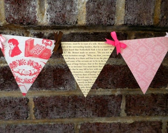 Pride and Prejudice Paper Pennant Banner / Jane Austen / Bridal Shower / Regency / Birthday / Party / Bunting / Garland / Banner
