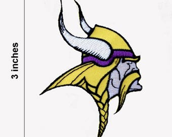 Minnesota Vikings White Face Embroidered Iron On Patch.