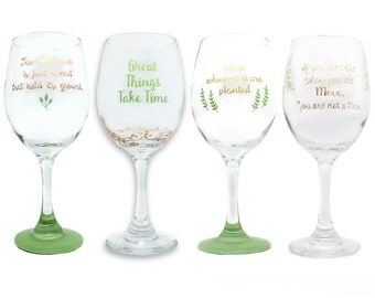 Set of Wine Glasses, Greenery, Wine Glasses, Hand Painted