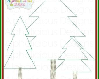 Woodlands Tree Trio Applique Design- Christmas Applique- Woodlands- Christmas Tree- Forest- Vintage- Digitized Design- Embroidery- Applique