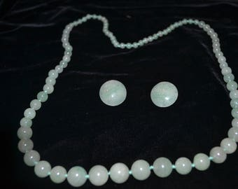 Vintage Jadeite Necklace and Earring Set