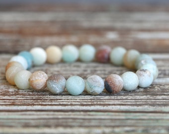 Beaded Stretch Bracelet Amazonite Bracelet Beaded Bracelet Gemstone Bracelet Stacking Bracelet