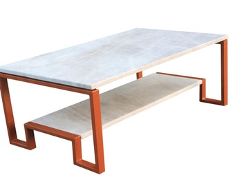 Double Decker Coffee table with Orange Base
