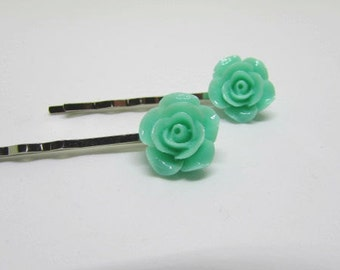 Mint Hair Grips, Flower Girl Gift, Rose Bobby Pins, Rose Hair Grips, Kirby Grip, Hair Accessories, Floral Accessories
