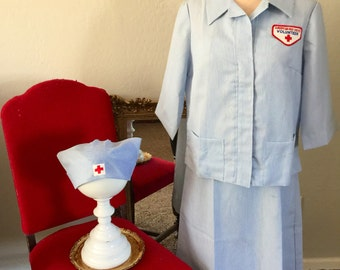 Vintage Red Cross Volunteer Dress Jacket and Hat Uniform Set from the 60s