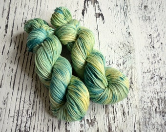 Hand Dyed Yarn, DK yarn, hand dyed DK wool, hand dyed merino, silk yarn, stellina, merino wool, Sparkly Mermaid