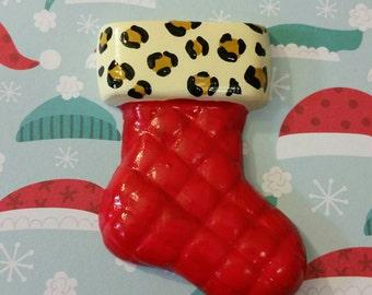 Leopard Christmas stocking brooch