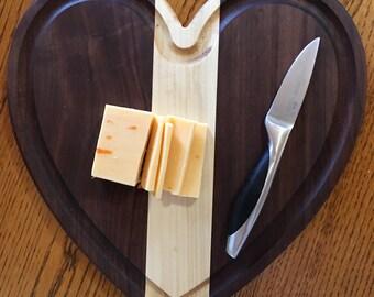 Walnut and Maple Heart Cutting Board