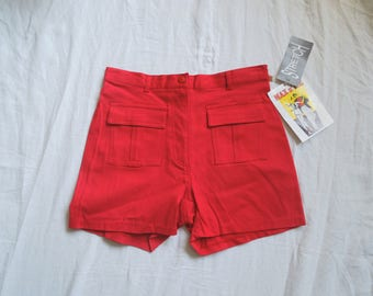 80s Max n Me Red Stretchy High Waisted Hot Pants NWT