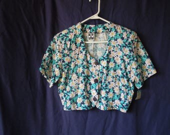 90s Floral Button Down Cropped T-Shirt