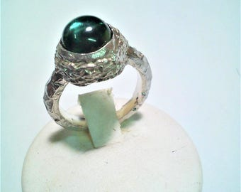 """""""nido"""" ring with cabochon of: green amethyst, chalcedony, citrine, Rose Quartz, Amethyst made of Silver 925"""