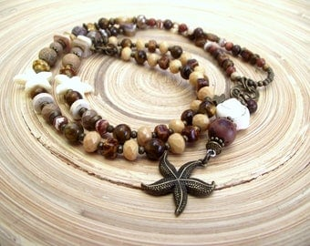 Summer long chain natural Brown Shell Starfish natural stone Tiger eye