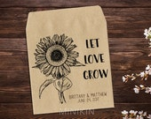 Sunflower Seed Packets, Let Love Grow, Personalized Favor, Custom Seed Packets, Rustic Wedding, Seed, Custom Favor, Seed Favor x 25